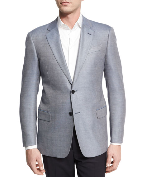 Armani Collezioni Neat Two-Button Sport Coat, Light Blue/White
