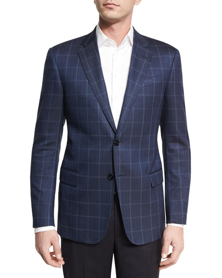 Armani Collezioni Herringbone Windowpane Two-Button Sport Coat,