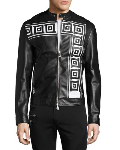 Greek Key Leather Cafe Racer Jacket, Black