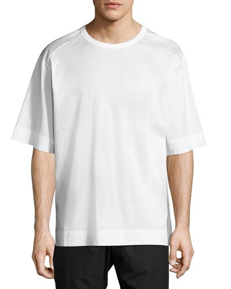 Juun J Woven-Back Crewneck T-Shirt, White