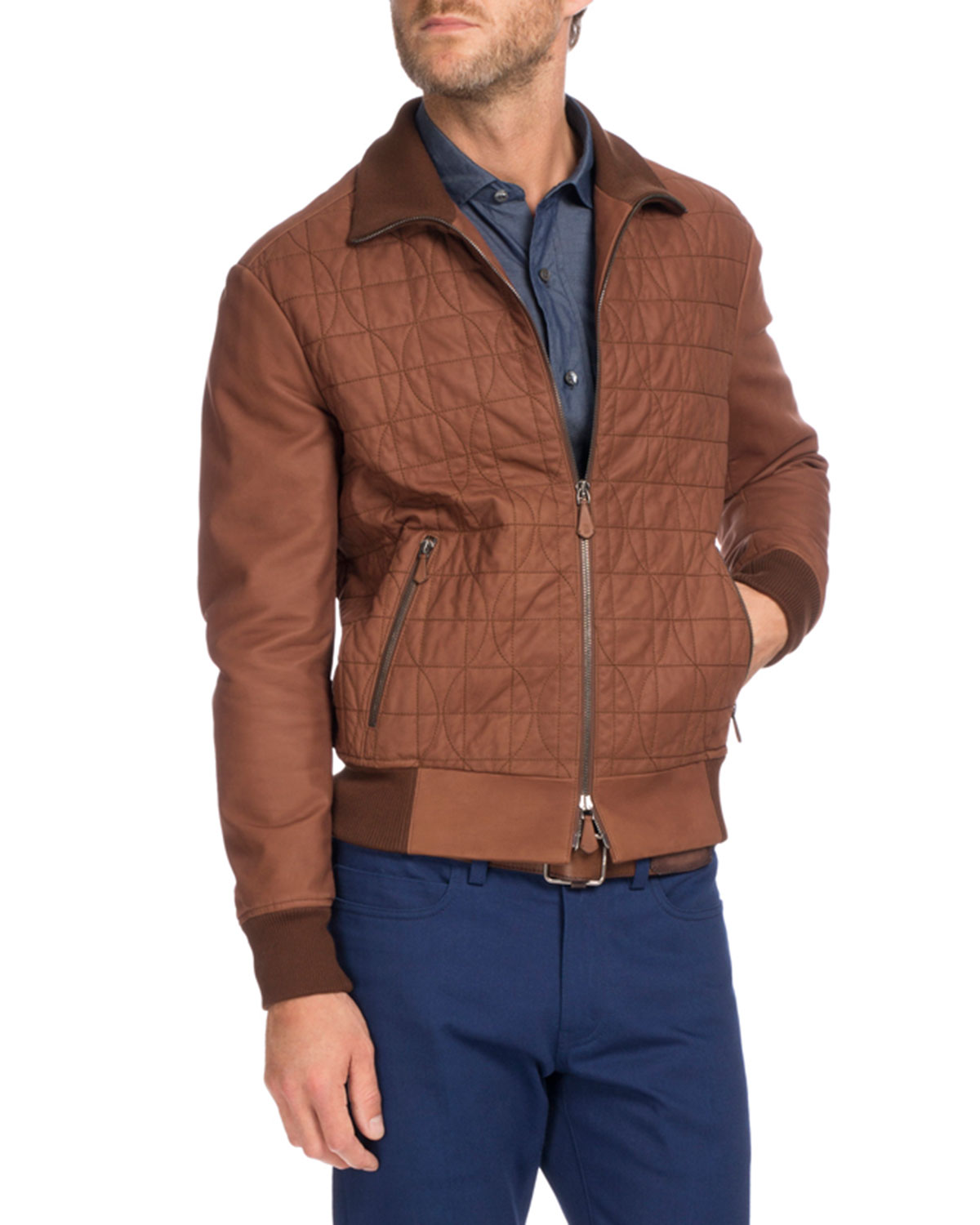 695b7e26d46 Berluti Quilted Leather Bomber Jacket, Brown | Neiman Marcus