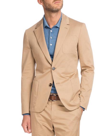 Cotton Two-Button Blazer, Tan