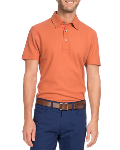 Berluti Cotton-Silk Polo Shirt, Orange