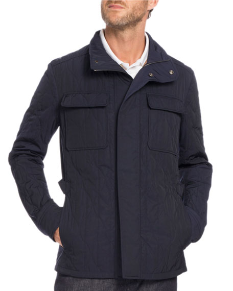 Berluti Quilted Field Jacket, Navy