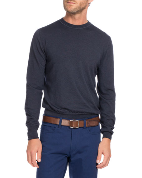 Berluti Wool Crewneck Sweater, Navy Blue
