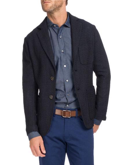 Textured Knit Two-Button Blazer, Navy Blue