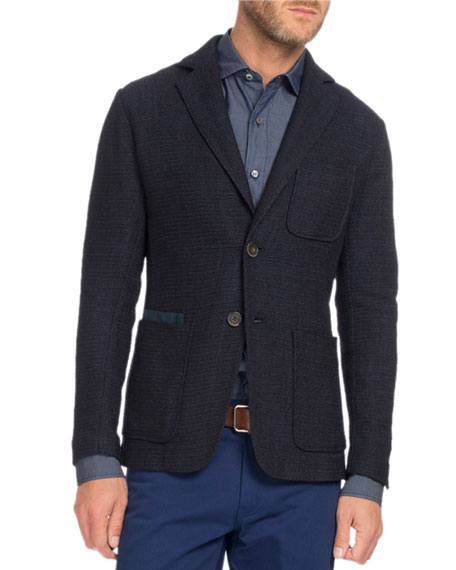 Berluti Textured Knit Two-Button Blazer, Navy Blue
