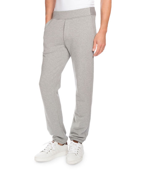 Berluti Heathered Jogger Pants with Leather Pocket, Gray