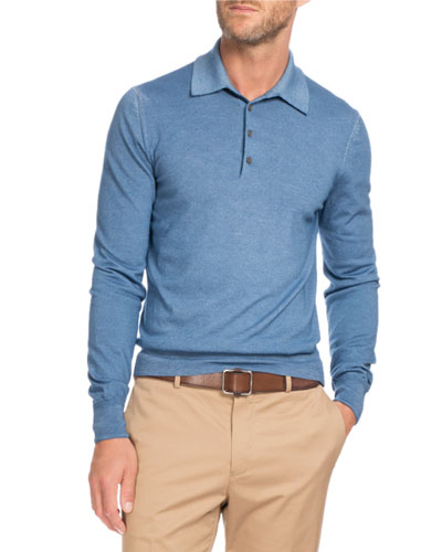 Long-Sleeve Wool Polo Sweater, Blue