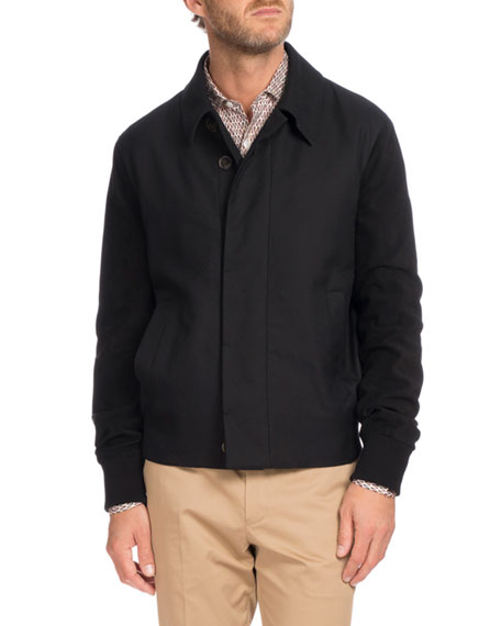 Berluti Suede Trim Blouson Jacket, Black