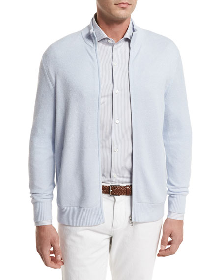 Cashmere Zip-Front Bomber Cardigan, Light Blue
