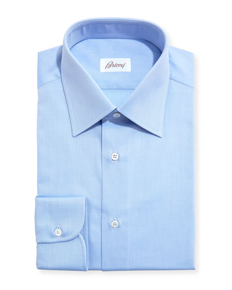 Brioni Textured Micro-Diamond Dress Shirt, Bluette