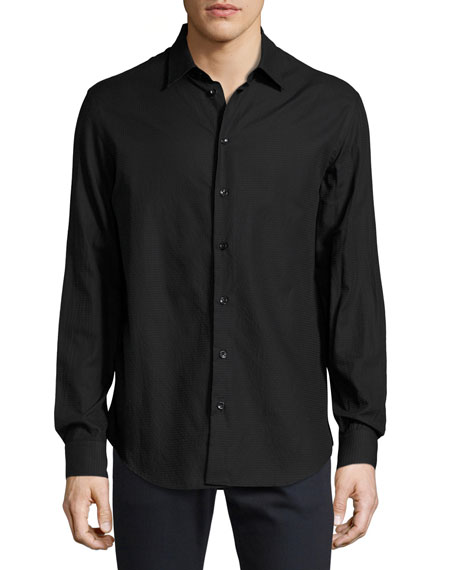Armani Collezioni Textured Cotton Sport Shirt, Black
