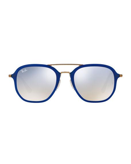 Men's Gradient Flash Square Aviator Sunglasses, Blue/Bronze-Copper