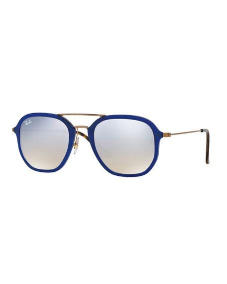 square aviator sunglasses  Ray-Ban Men\u0027s Gradient Flash Square Aviator Sunglasses, Blue ...