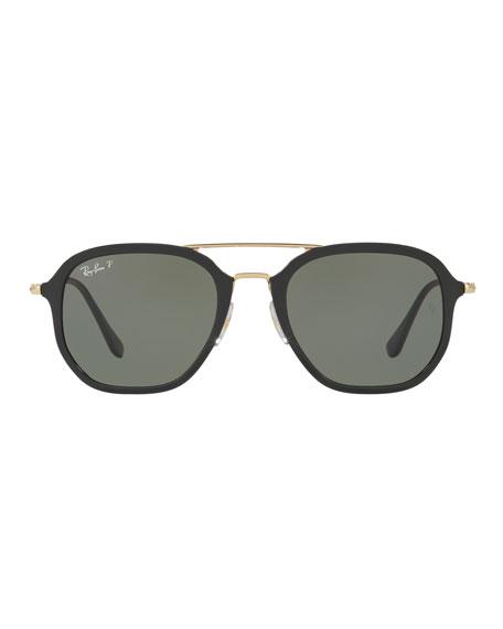 Men's Polarized Square Aviator Sunglasses, Black/Gold