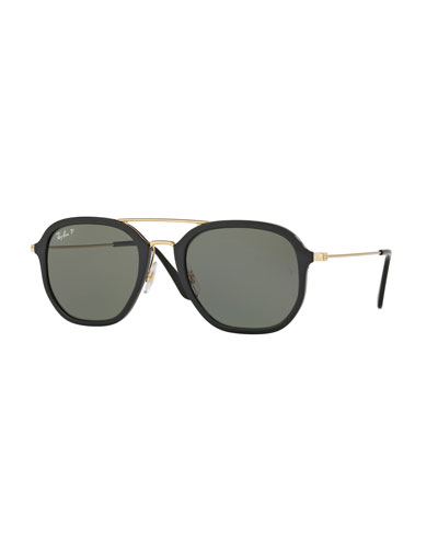 Ray-Ban Men's Polarized Square Aviator Sunglasses, Black/Gold