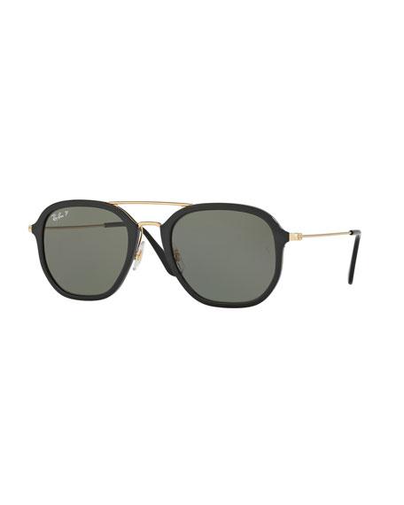 Ray-Ban Men's Polarized Square Aviator Sunglasses, Black/Gold