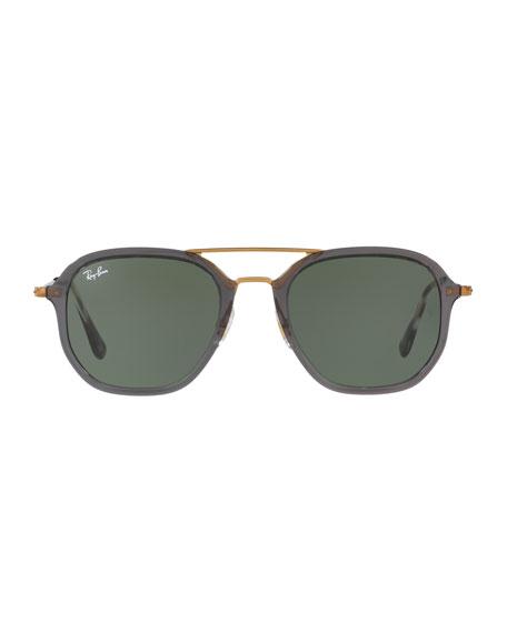 Men's Solid Square Aviator Sunglasses, Gray/Bronze-Copper