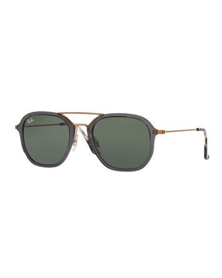 Ray-Ban Men's Solid Square Aviator Sunglasses, Gray/Bronze-Copper