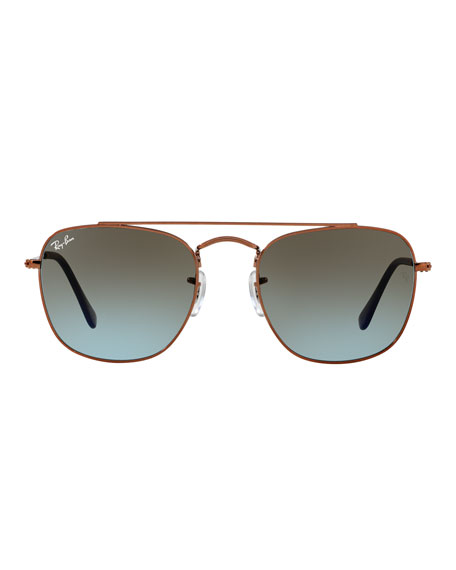 Men's Square Double-Bridge Sunglasses, Bronze/Copper