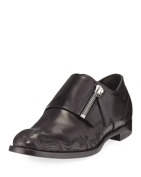 Alexander McQueen Skull-Etched Leather Loafer with Zipper Monk