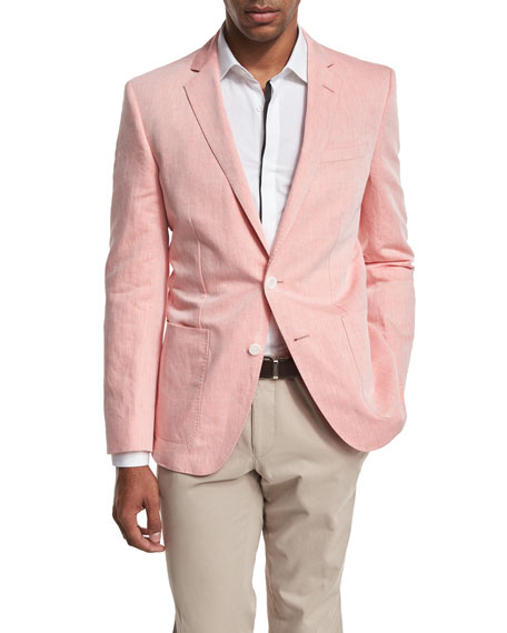 BOSS Woven Two-Button Sport Coat, Pale Orange