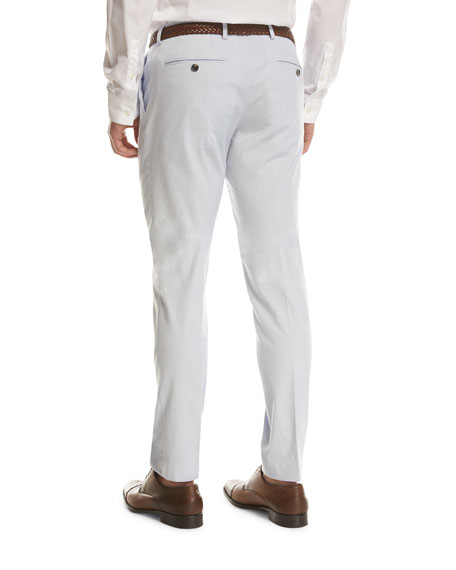 BOSS Stretch-Cotton Flat-Front Pants, Light Blue