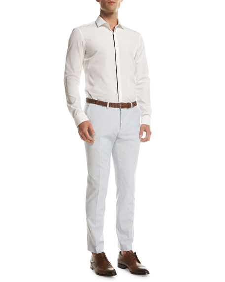 Stretch-Cotton Flat-Front Pants, Light Blue