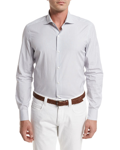 Loro Piana Albert Striped Sport Shirt, Blue