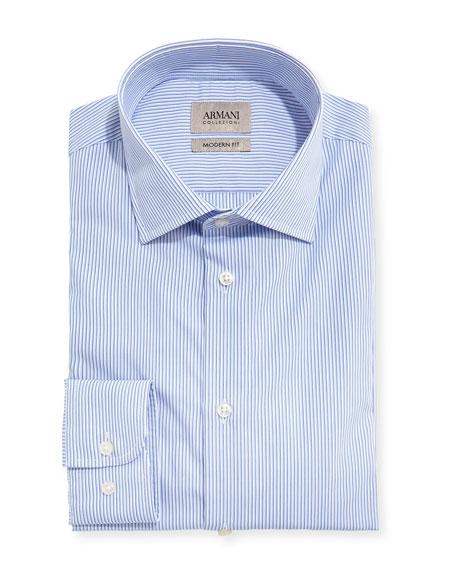 Armani collezioni striped modern fit dress shirt blue for Modern fit dress shirt