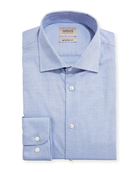 Armani Collezioni Micro-Neat Modern-Fit Dress Shirt, Blue