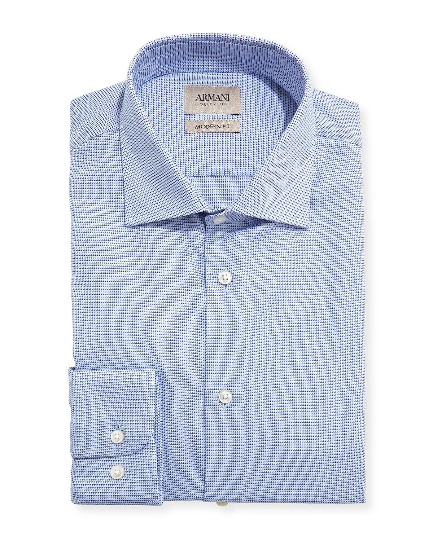 Shirt Neiman Dress Modern Collezioni Fit Micro Armani Neat Blue nPcWYYS