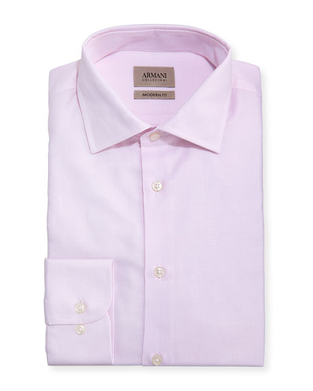 Armani Collezioni Modern-Fit Micro-Pattern Dress Shirt, Light