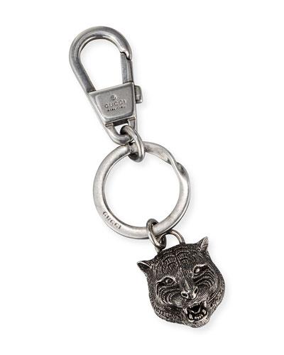 Felina Tiger Head Key Ring, Silver