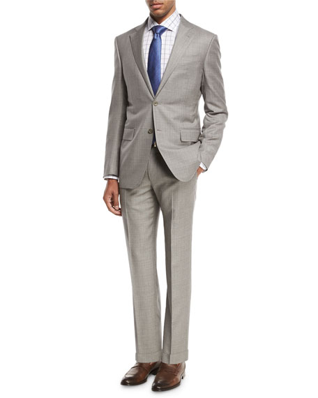 Sharkskin Two-Piece Suit, Light Gray