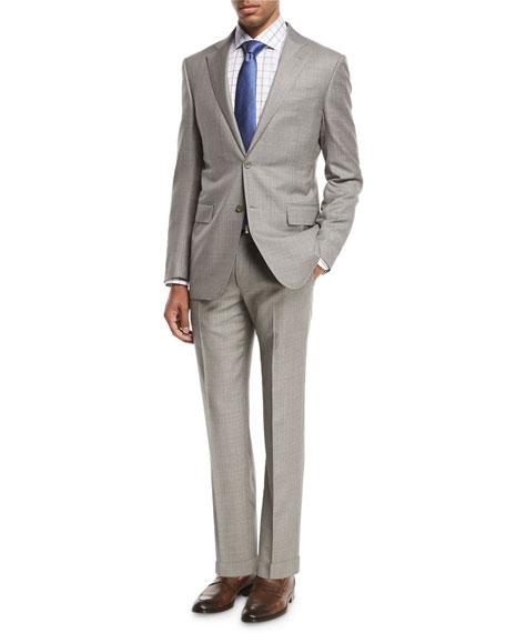 Sharkskin Two-Piece Suit, Light Gray