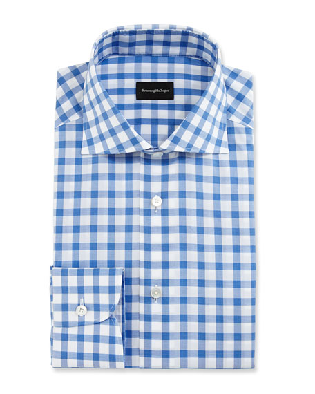 Bold-Check Dress Shirt, White/Royal Blue