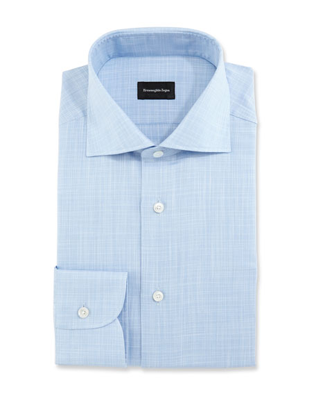 Ermenegildo Zegna Linen-Effect Dress Shirt, Blue