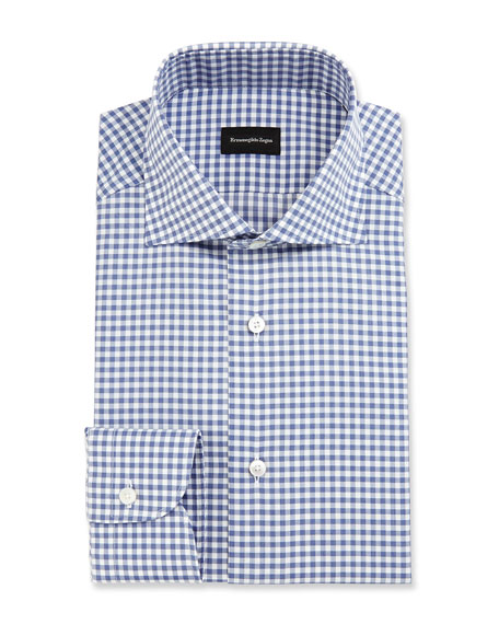 Ermenegildo Zegna Gingham Dress Shirt, Slate Blue