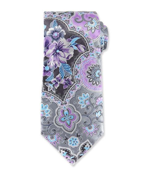 Large Paisley Silk Tie, Gray