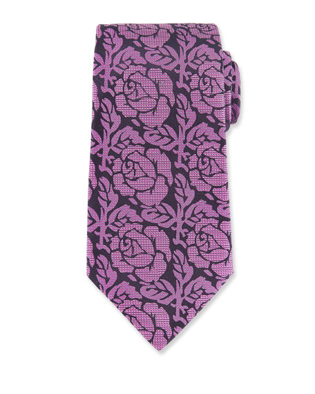 Floral Herringbone Silk Tie, Purple
