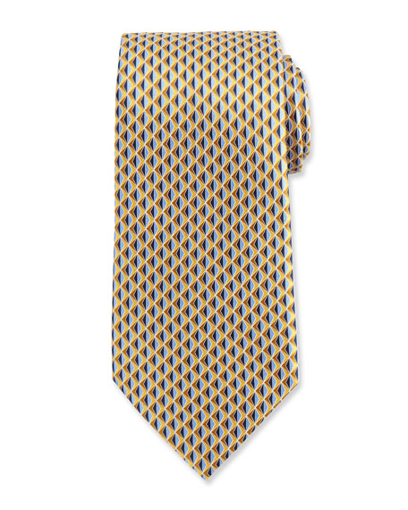 Neat 3D Diamond Printed Silk Tie, Yellow