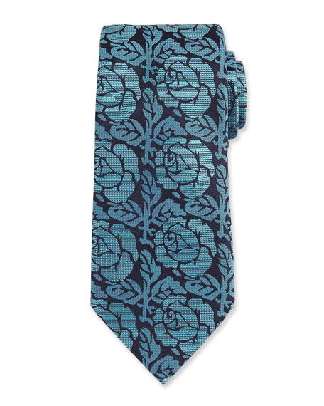 Ermenegildo Zegna Dotted Rose Woven Silk Tie, Green