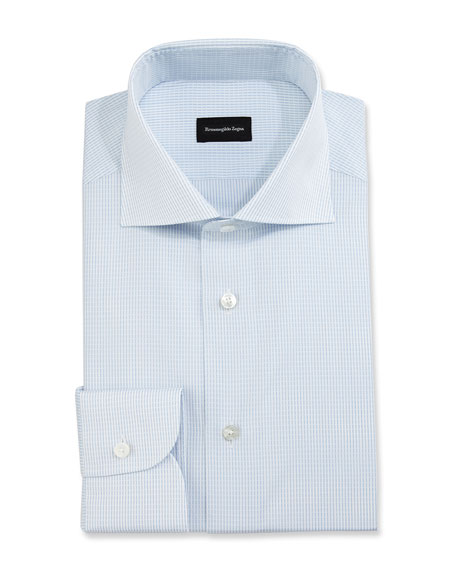 Grid-Stitch Dress Shirt, White/Light Blue