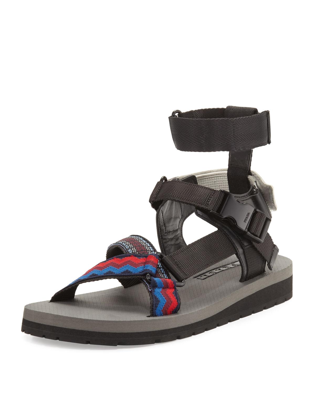 9e11c90d41b8ac Prada Runway Nylon Strap Sandal
