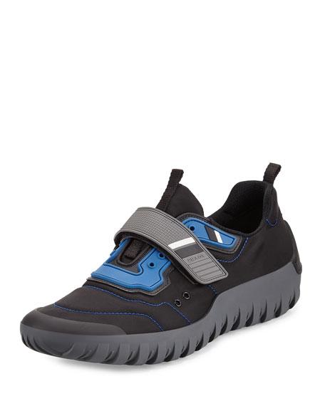 Prada Colorblock Neoprene Scuba Sneaker, Black/Blue