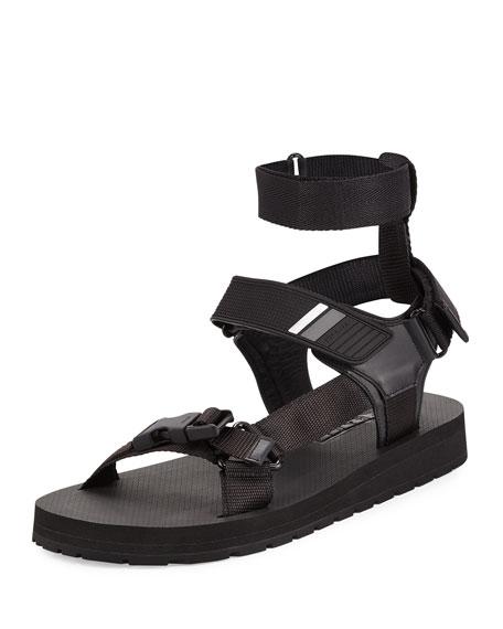 Prada Runway Nylon Strap Sandal, Black
