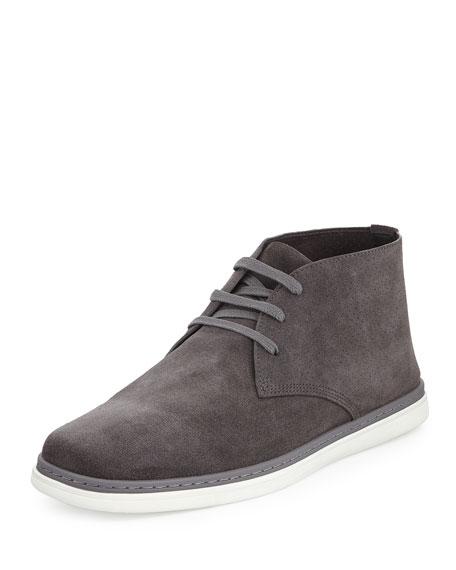 Ermenegildo Zegna Newport Perforated Suede Chukka Boot, Gray