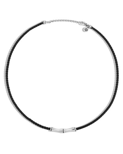 Men's Bamboo Collection Woven Leather & Sterling Silver Necklace, Black